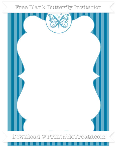 Free Cerulean Blue Thin Striped Pattern Blank Butterfly Invitation