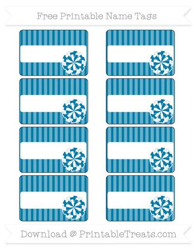 Free Cerulean Blue Thin Striped Pattern Cheer Pom Pom Tags