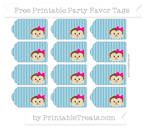 Free Cerulean Blue Thin Striped Pattern Girl Monkey Party Favor Tags