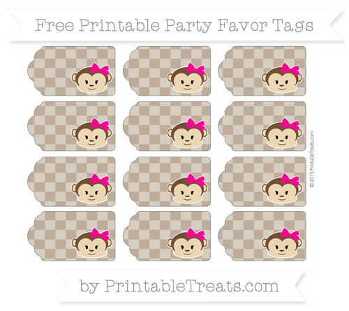 Free Coyote Brown Checker Pattern Girl Monkey Party Favor Tags