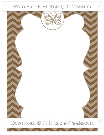 Free Coyote Brown Chevron Blank Butterfly Invitation