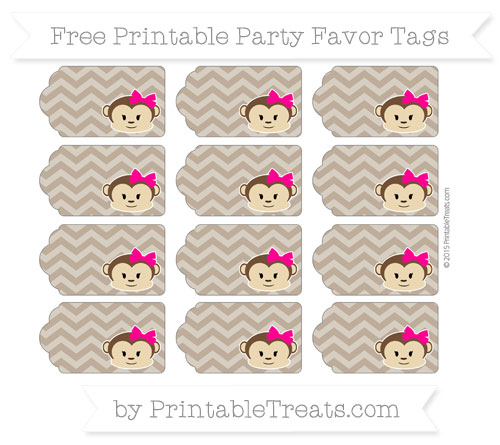 Free Coyote Brown Chevron Girl Monkey Party Favor Tags