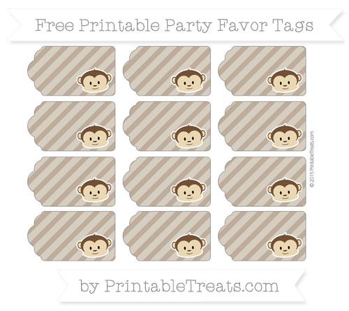 Free Coyote Brown Diagonal Striped Boy Monkey Party Favor Tags