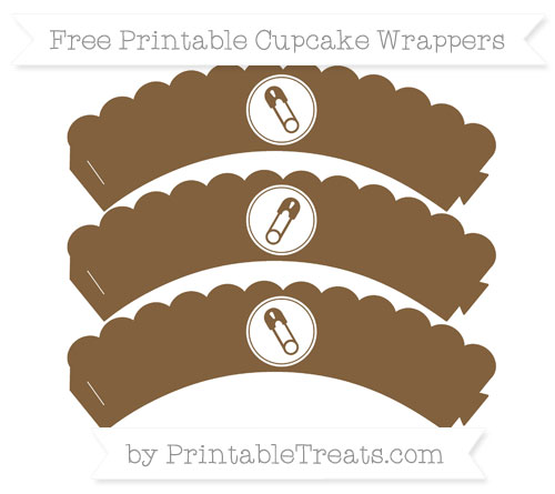 Free Coyote Brown Diaper Pin Scalloped Cupcake Wrappers