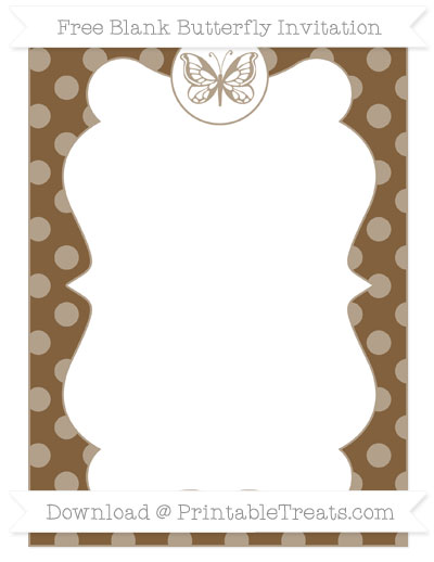 Free Coyote Brown Dotted Pattern Blank Butterfly Invitation