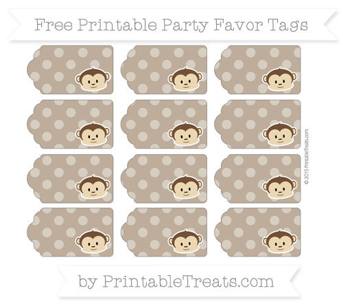 Free Coyote Brown Dotted Pattern Boy Monkey Party Favor Tags
