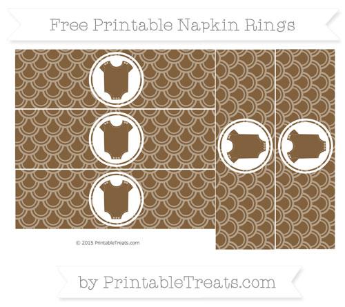 Free Coyote Brown Fish Scale Pattern Baby Onesie Napkin Rings
