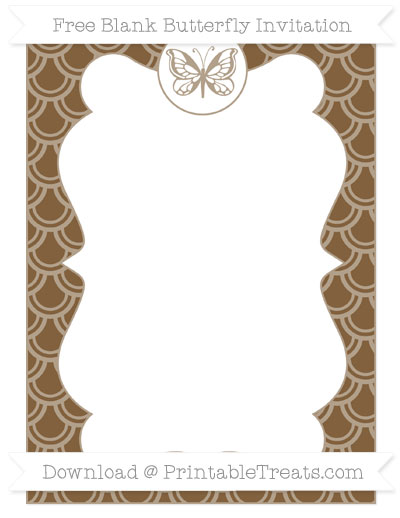 Free Coyote Brown Fish Scale Pattern Blank Butterfly Invitation