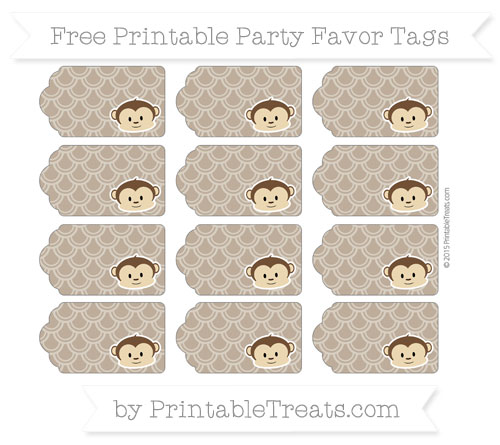Free Coyote Brown Fish Scale Pattern Boy Monkey Party Favor Tags