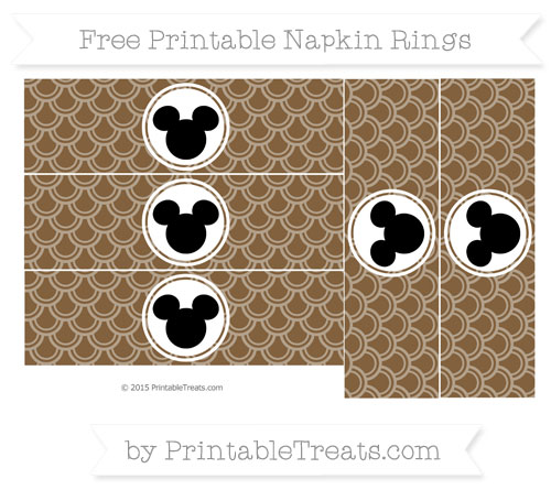 Free Coyote Brown Fish Scale Pattern Mickey Mouse Napkin Rings