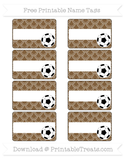 Free Coyote Brown Fish Scale Pattern Soccer Name Tags