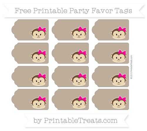 Free Coyote Brown Girl Monkey Party Favor Tags