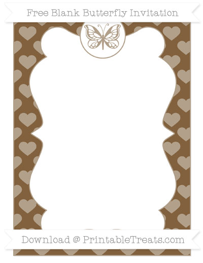 Free Coyote Brown Heart Pattern Blank Butterfly Invitation