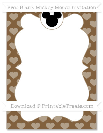 Free Coyote Brown Heart Pattern Blank Mickey Mouse Invitation