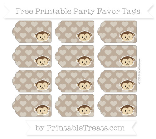 Free Coyote Brown Heart Pattern Boy Monkey Party Favor Tags