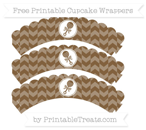 Free Coyote Brown Herringbone Pattern Baby Rattle Scalloped Cupcake Wrappers