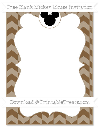 Free Coyote Brown Herringbone Pattern Blank Mickey Mouse Invitation