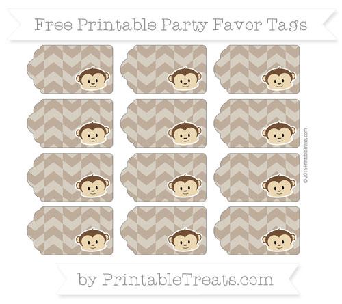 Free Coyote Brown Herringbone Pattern Boy Monkey Party Favor Tags