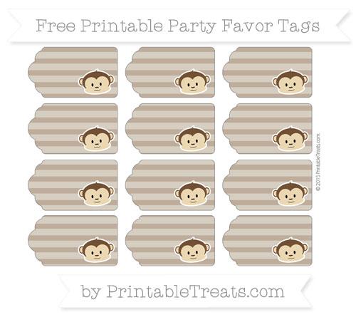 Free Coyote Brown Horizontal Striped Boy Monkey Party Favor Tags
