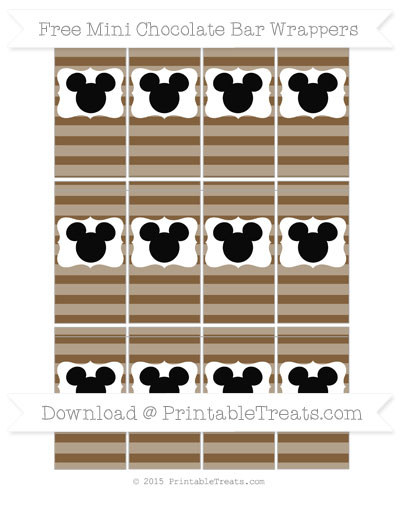 Free Coyote Brown Horizontal Striped Mickey Mouse Mini Chocolate Bar Wrappers