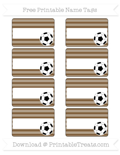 Free Coyote Brown Horizontal Striped Soccer Name Tags