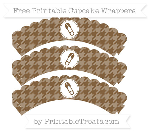 Free Coyote Brown Houndstooth Pattern Diaper Pin Scalloped Cupcake Wrappers