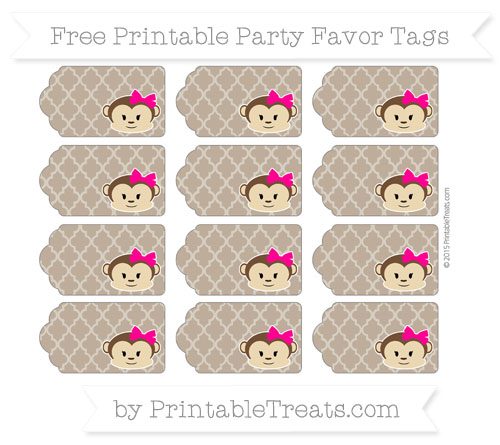 Free Coyote Brown Moroccan Tile Girl Monkey Party Favor Tags