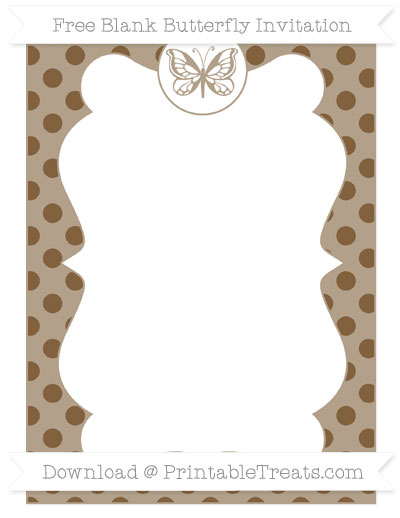 Free Coyote Brown Polka Dot Blank Butterfly Invitation