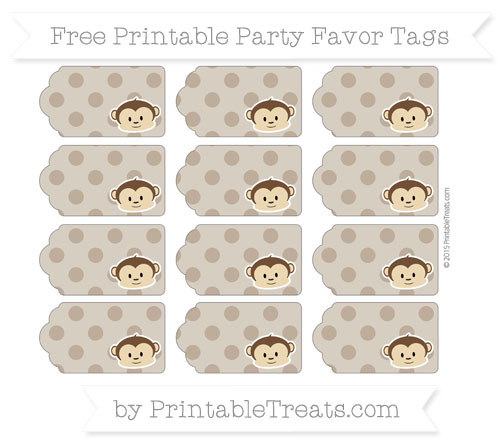 Free Coyote Brown Polka Dot Boy Monkey Party Favor Tags