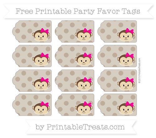 Free Coyote Brown Polka Dot Girl Monkey Party Favor Tags