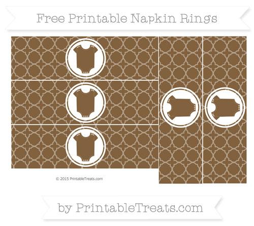 Free Coyote Brown Quatrefoil Pattern Baby Onesie Napkin Rings