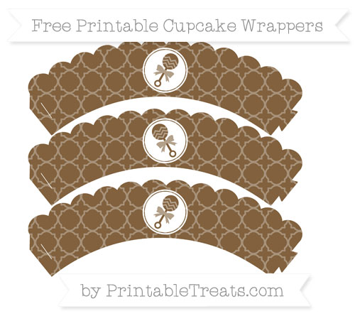 Free Coyote Brown Quatrefoil Pattern Baby Rattle Scalloped Cupcake Wrappers