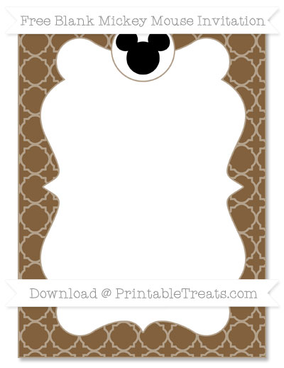 Free Coyote Brown Quatrefoil Pattern Blank Mickey Mouse Invitation