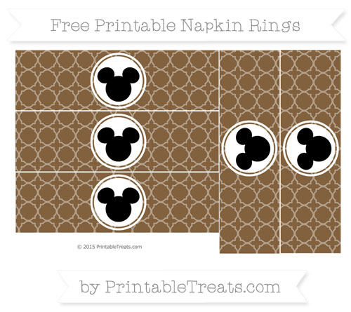 Free Coyote Brown Quatrefoil Pattern Mickey Mouse Napkin Rings
