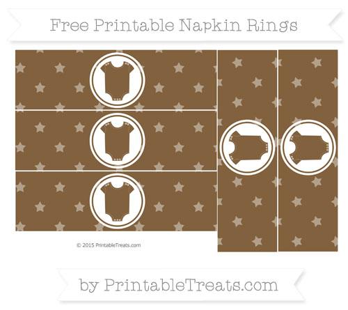 Free Coyote Brown Star Pattern Baby Onesie Napkin Rings