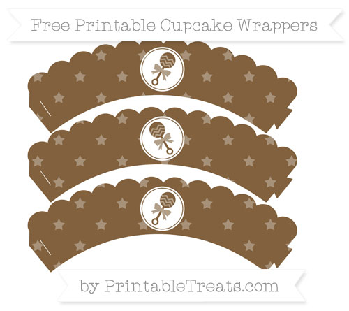 Free Coyote Brown Star Pattern Baby Rattle Scalloped Cupcake Wrappers