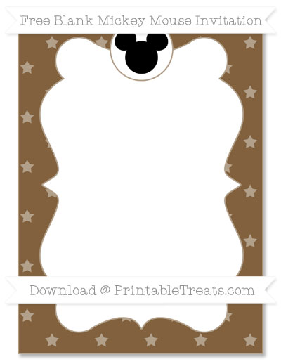 Free Coyote Brown Star Pattern Blank Mickey Mouse Invitation