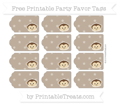 Free Coyote Brown Star Pattern Boy Monkey Party Favor Tags