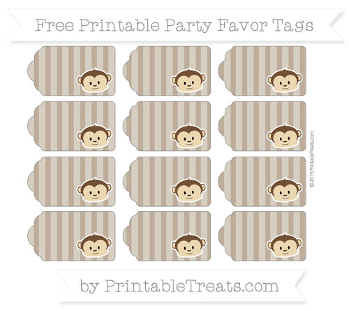 Free Coyote Brown Striped Boy Monkey Party Favor Tags