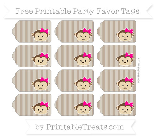Free Coyote Brown Striped Girl Monkey Party Favor Tags