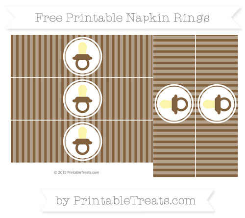Free Coyote Brown Thin Striped Pattern Baby Pacifier Napkin Rings