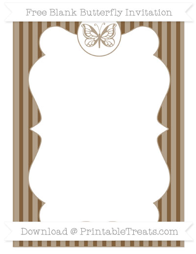Free Coyote Brown Thin Striped Pattern Blank Butterfly Invitation