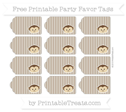 Free Coyote Brown Thin Striped Pattern Boy Monkey Party Favor Tags