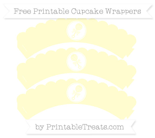 Free Cream Baby Rattle Scalloped Cupcake Wrappers