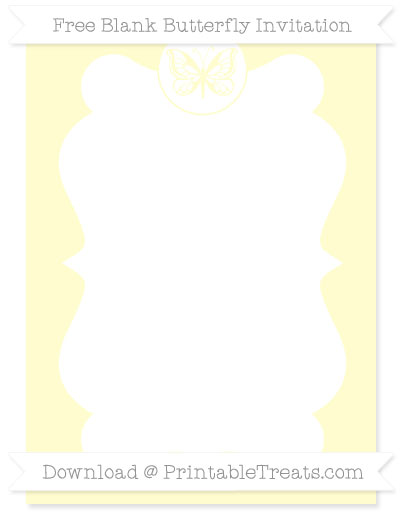 Free Cream Blank Butterfly Invitation