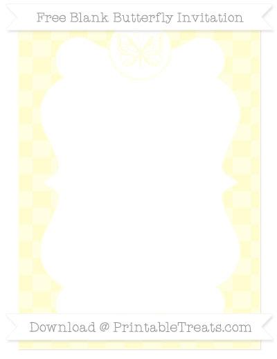 Free Cream Checker Pattern Blank Butterfly Invitation