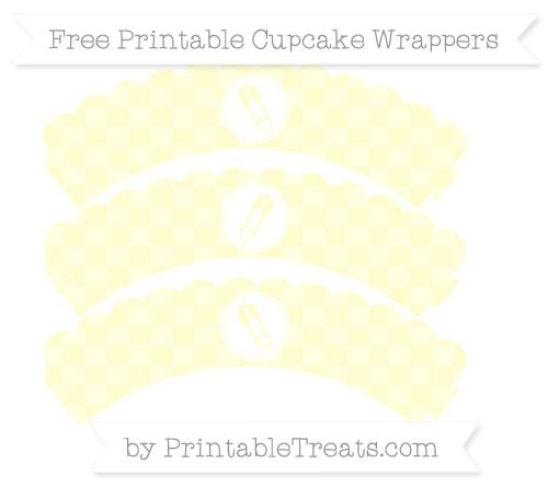 Free Cream Checker Pattern Diaper Pin Scalloped Cupcake Wrappers