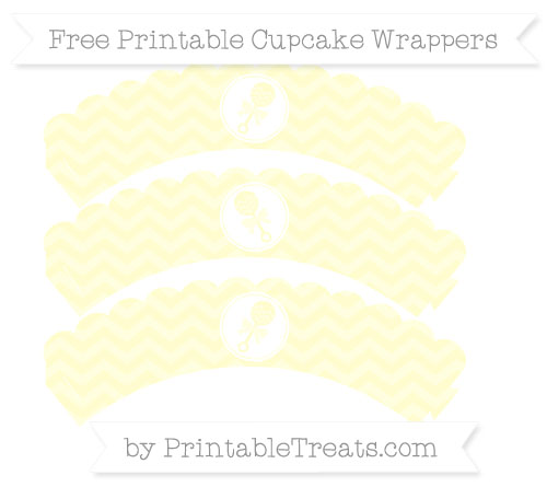 Free Cream Chevron Baby Rattle Scalloped Cupcake Wrappers