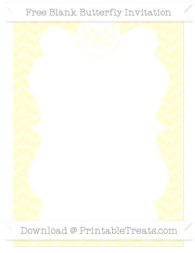 Free Cream Chevron Blank Butterfly Invitation