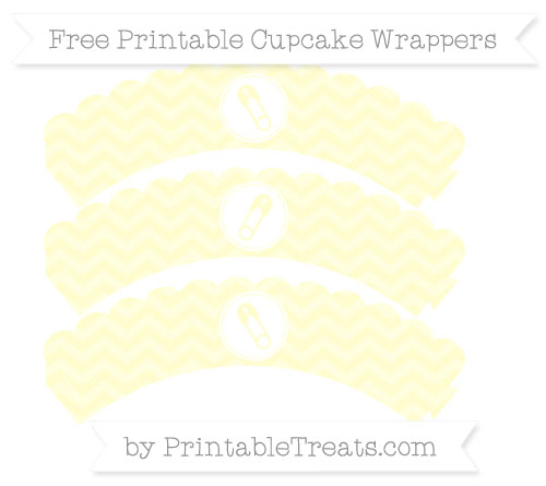 Free Cream Chevron Diaper Pin Scalloped Cupcake Wrappers
